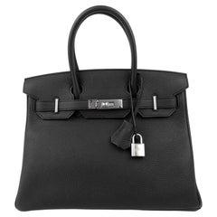 Hermes Birkin 30 Black Noir Togo Palladium Hardware NEW