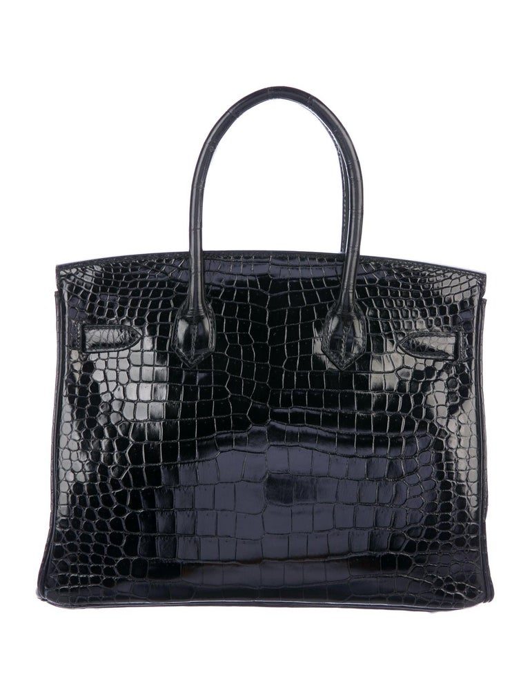 Hermes Birkin 30 Black Shiny Crocodile Top Handle Satchel Tote Bag in Box In Good Condition For Sale In Chicago, IL