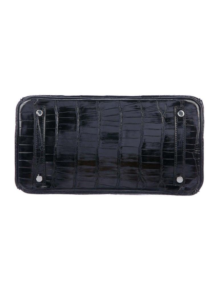 Women's Hermes Birkin 30 Black Shiny Crocodile Top Handle Satchel Tote Bag in Box For Sale