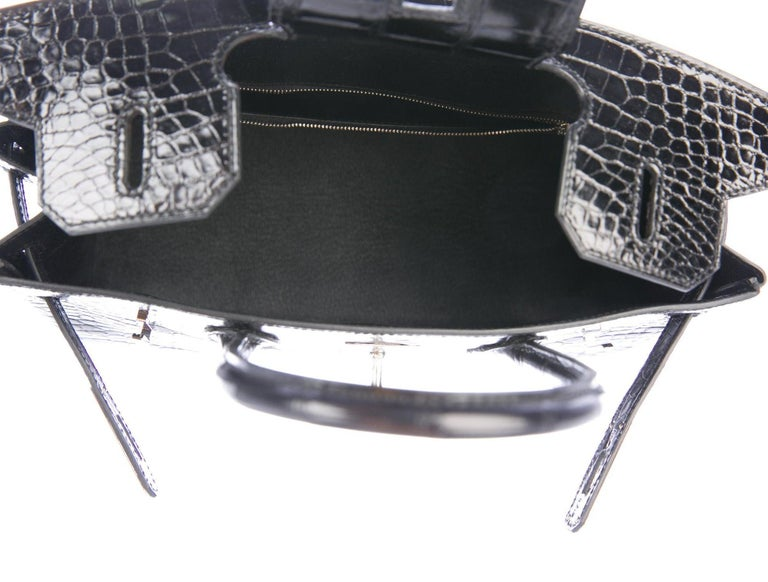 Hermes Birkin 30 Black Shiny Crocodile Top Handle Satchel Tote Bag in Box For Sale 1