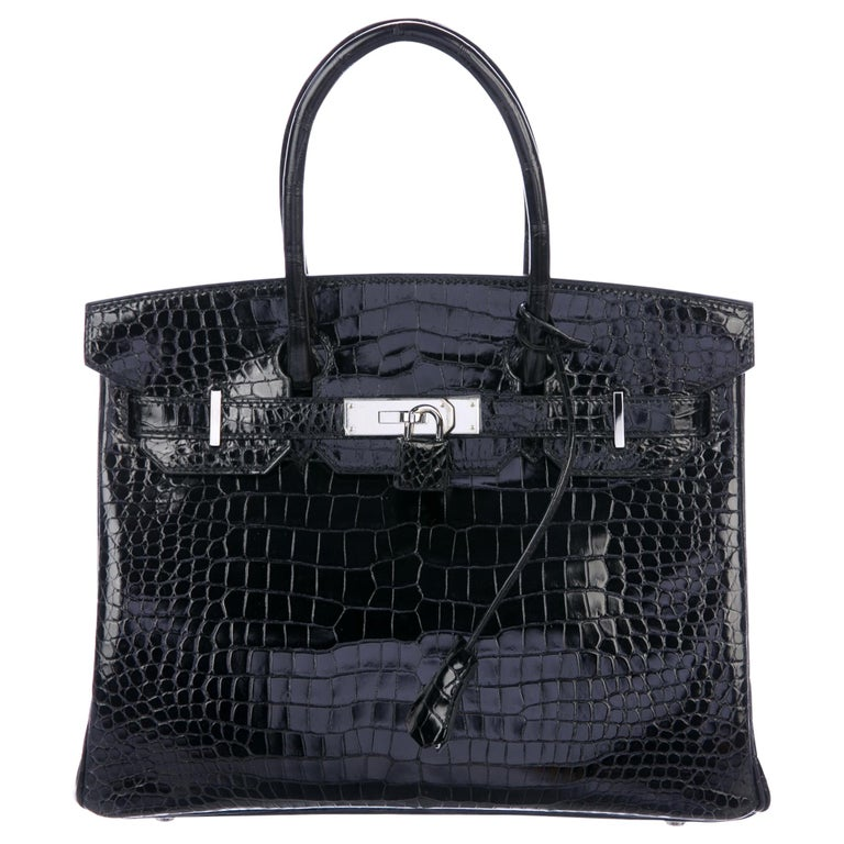 Hermes Birkin 30 Black Shiny Crocodile Top Handle Satchel Tote Bag in Box For Sale