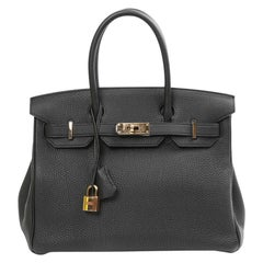 HERMES Birkin 30 Black Togo Leather