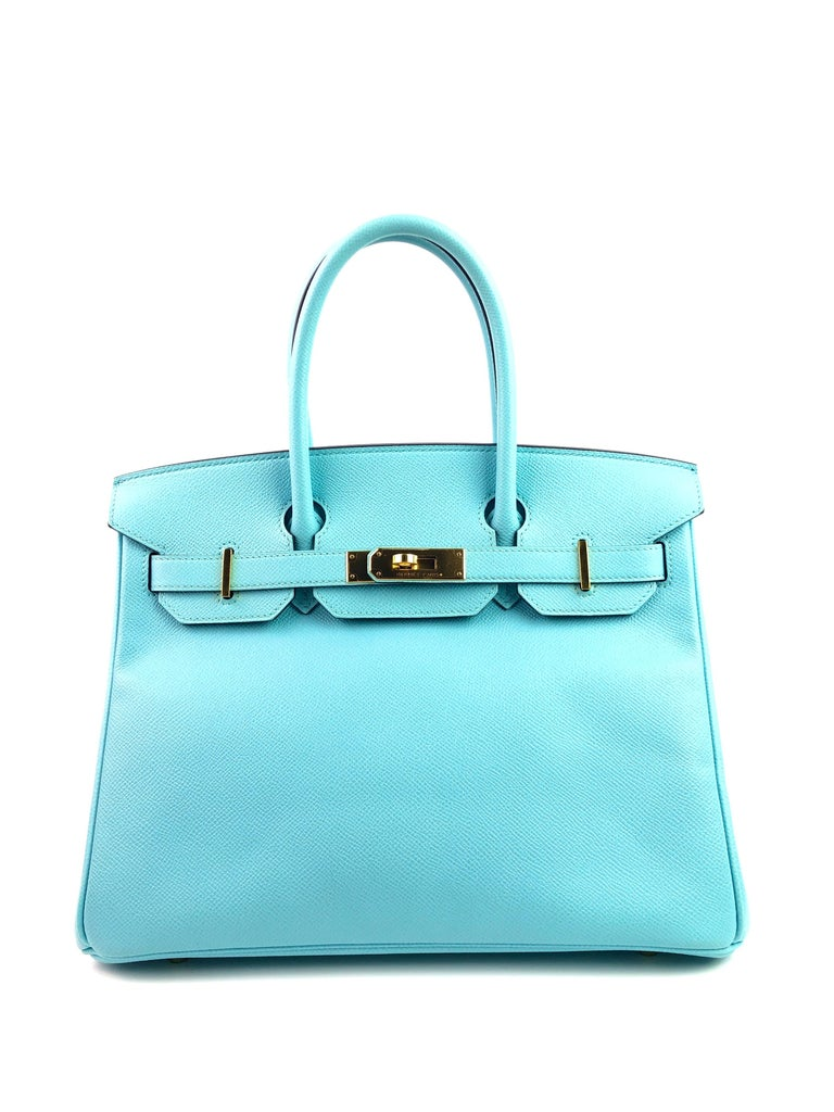 Hermes Birkin 30 Blue Atoll Epsom Gold Hardware. T Stamp 2015 Excellent Pristine Condition, Plastic on hardware, perfect corners and structure.  Shop with Confidence from Lux Addicts. Authenticity Guaranteed!