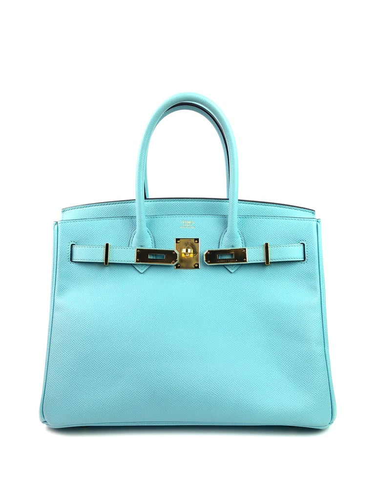Hermes Birkin 30 Blue Atoll Epsom Gold Hardware  In Excellent Condition In Miami, FL