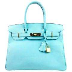 Hermes Birkin 30 Blue Atoll Epsom Gold Hardware