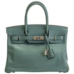 Hermes Birkin 30 Blue Ciel Swift Leather Bag
