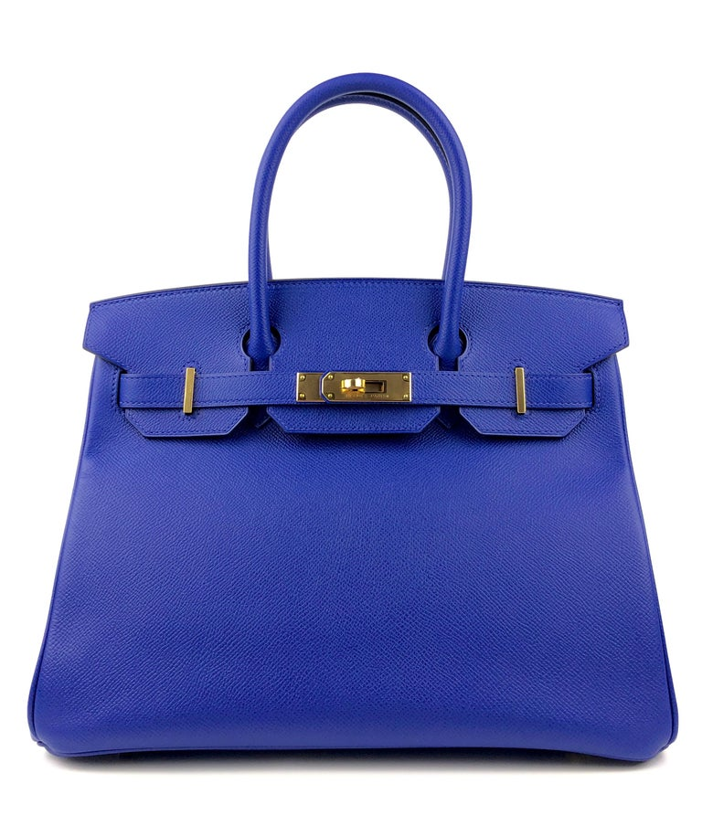 Stunning Hermes Birkin 30 Blue ElectricEpsom Gold Hardware.  As New Condition, Plastic on Hardware and Feet, Excellent corners and Structure. R Stamp 2014.  Shop with Confidence from Lux Addicts. Authenticity Guaranteed!