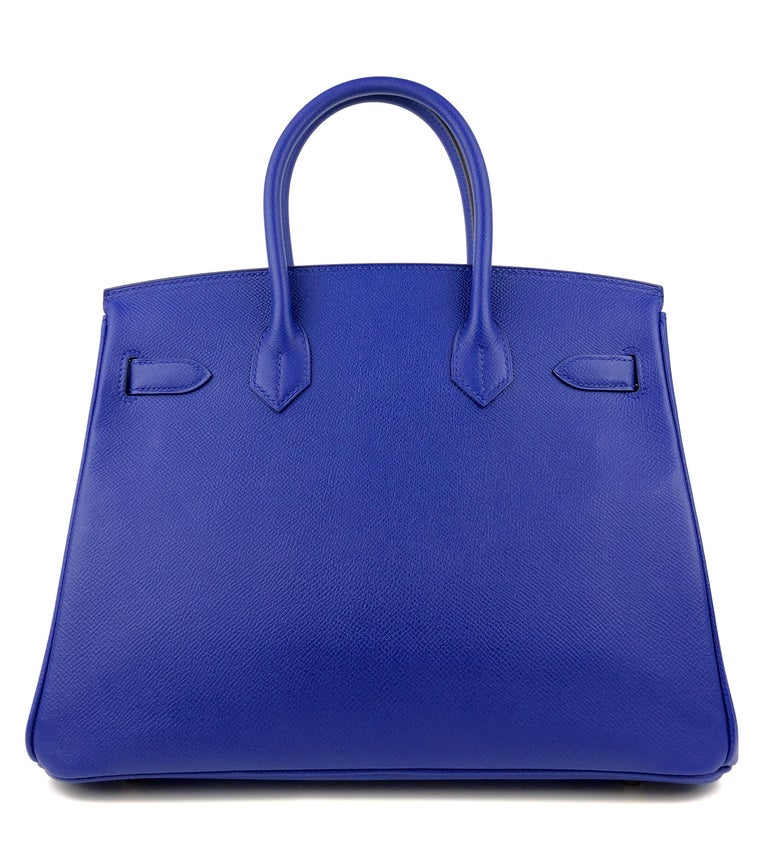Hermes Birkin 30 Blue Electric Epsom Gold Hardware In New Condition For Sale In Miami, FL