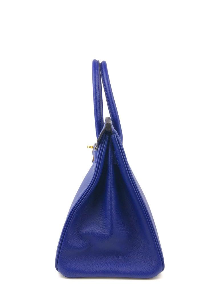 Hermes Birkin 30 Blue Electric Epsom Gold Hardware For Sale 1