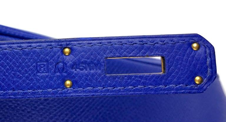 Hermes Birkin 30 Blue Electric Epsom Gold Hardware For Sale 3