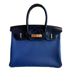 Hermès, Birkin 30 blue in taurillon novillo alligator