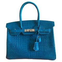 Hermes Birkin 30 Blue Izmir Shiny Porosus Crocrodile Bag
