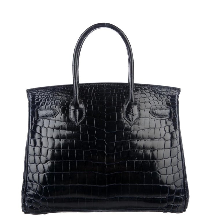 Hermes Birkin 30 Blue Marine Shiny Crocodile Top Handle Satchel Tote Bag In Good Condition For Sale In Chicago, IL
