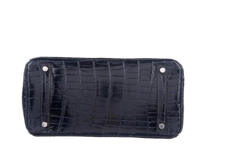 Women's Hermes Birkin 30 Blue Marine Shiny Crocodile Top Handle Satchel Tote Bag For Sale