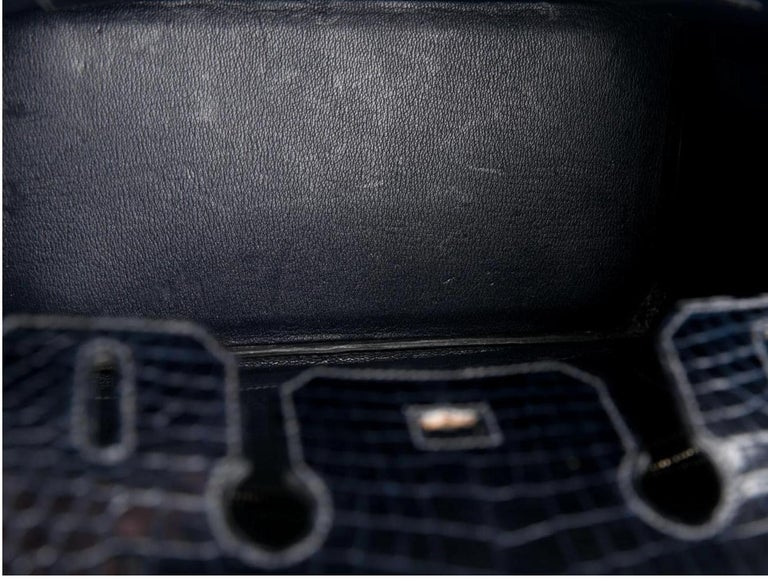 Hermes Birkin 30 Blue Marine Shiny Crocodile Top Handle Satchel Tote Bag For Sale 1
