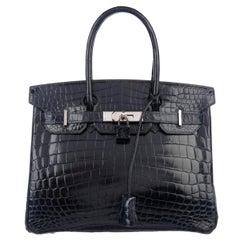 Hermes Birkin 30 Blue Marine Shiny Crocodile Top Handle Satchel Tote Bag