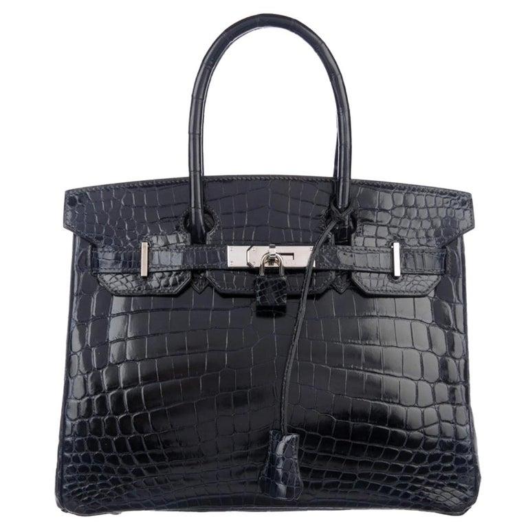Hermes Birkin 30 Blue Marine Shiny Crocodile Top Handle Satchel Tote Bag For Sale