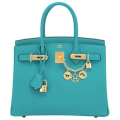 Hermes Birkin 30 Blue Paon Turquoise Peacock Jewel Epsom Gold Bag Y Stamp, 2020