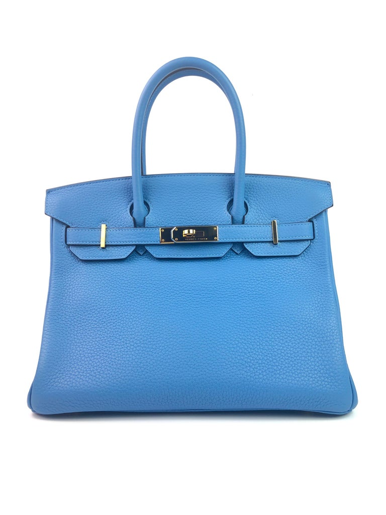 Hermes Birkin 30 Blue Paradise Gold Hardware. Excellent Condition, Some hairlines on Hardware, Excellent corners and structure.   Shop with Confidence from Lux Addicts. Authenticity Guaranteed!