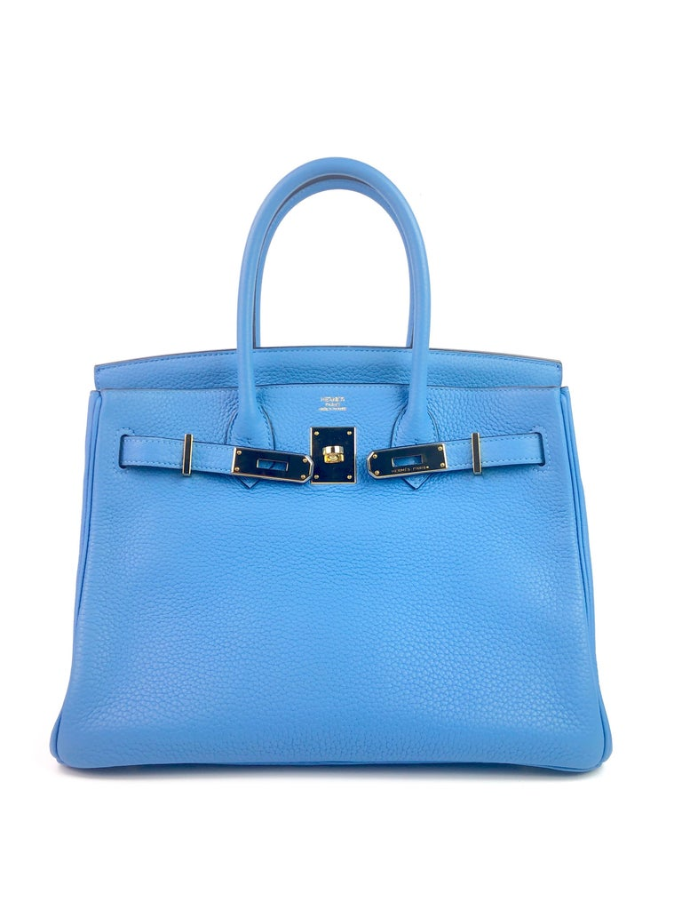 Hermes Birkin 30 Blue Paradise Gold Hardware  In Excellent Condition For Sale In Miami, FL