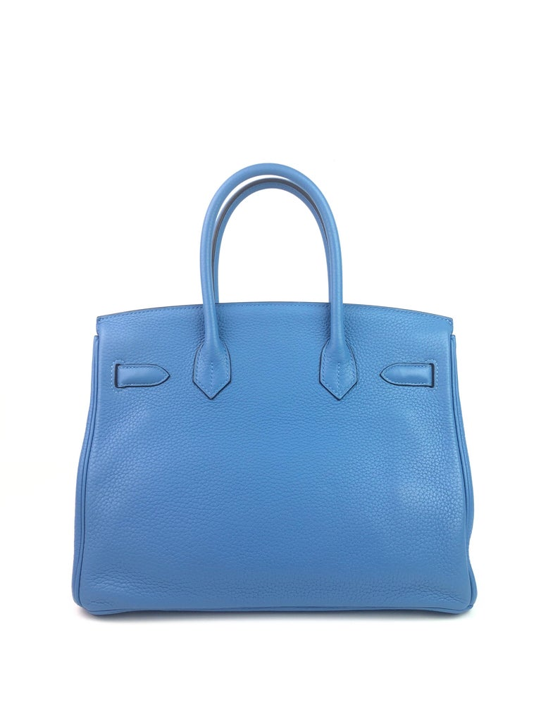 Women's or Men's Hermes Birkin 30 Blue Paradise Gold Hardware  For Sale