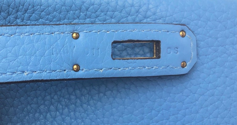 Hermes Birkin 30 Blue Paradise Gold Hardware  For Sale 5