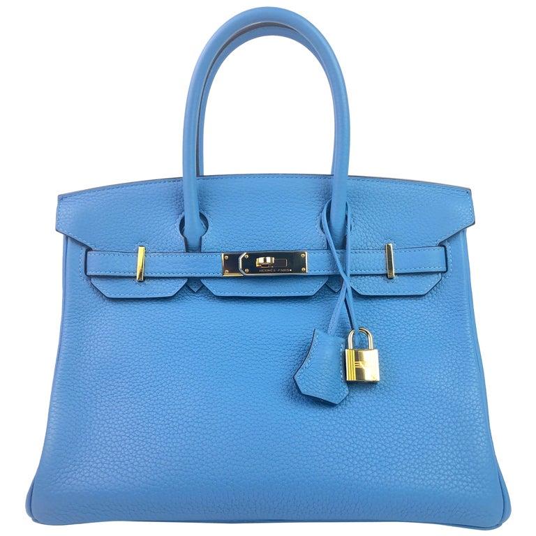 Hermes Birkin 30 Blue Paradise Gold Hardware  For Sale