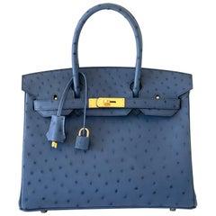Hermes Birkin 30 Blue Roi Ostrich Gold Hardware