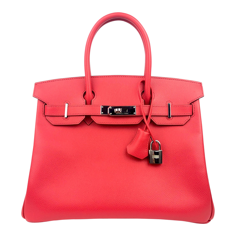 Hermes Birkin 30 Bougainvillea Red Pink Epsom Palladium Hardware