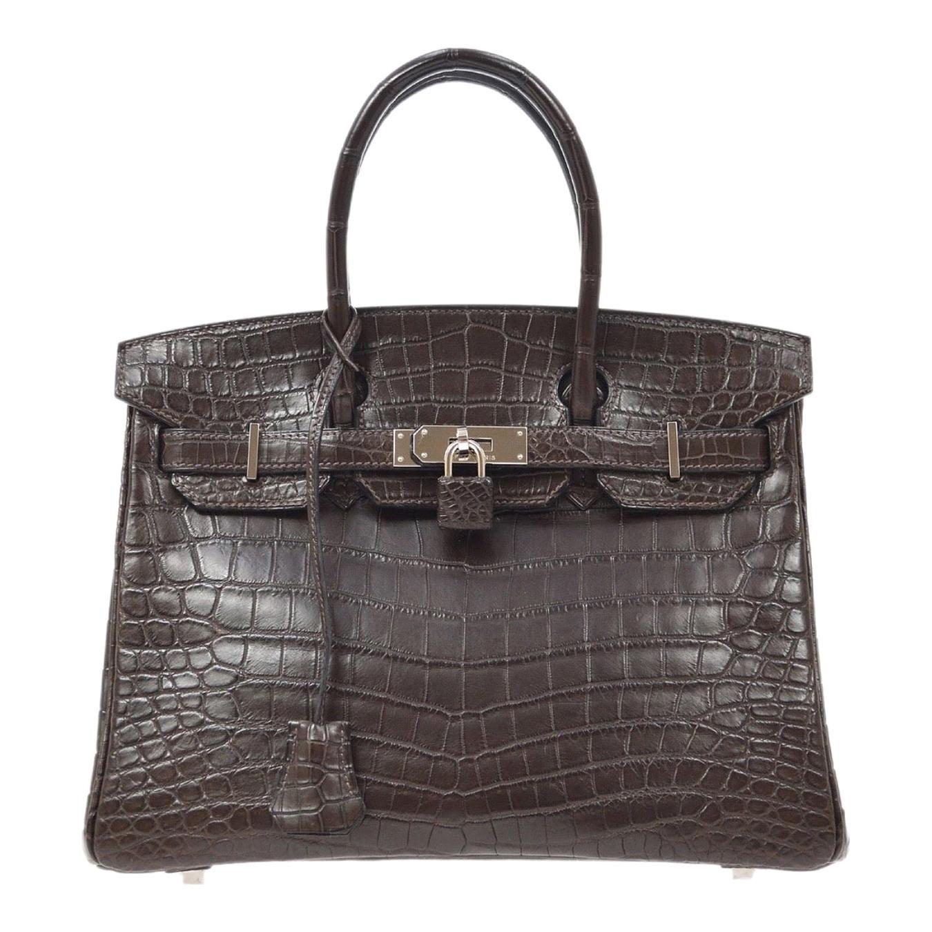 Hermes Birkin 30 Brown Crocodile Exotic Silver Top Handle Satchel Tote Bag w/Box