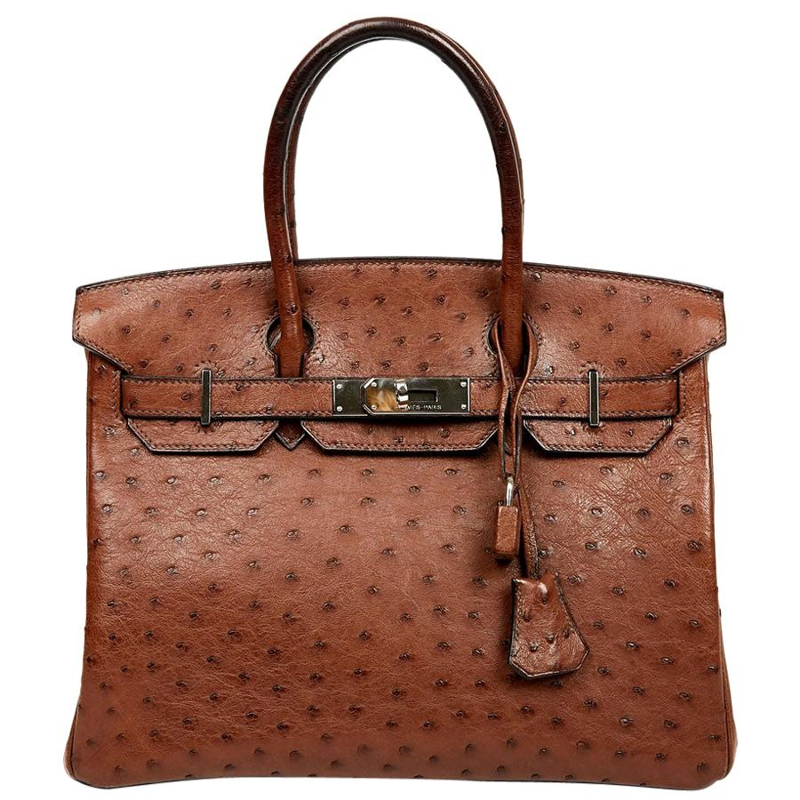 Hermes Birkin 30 Brown Ostrich Bag