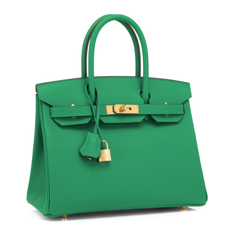 Hermes Birkin 30 Cactus Emerald Green Epsom Gold Bag Y Stamp, 2020 Sublime and rare combination! Emerald Green is the top color trend for 2021. Brand New in Box.  Store Fresh.  Pristine Condition (with plastic on hardware). Just purchased from