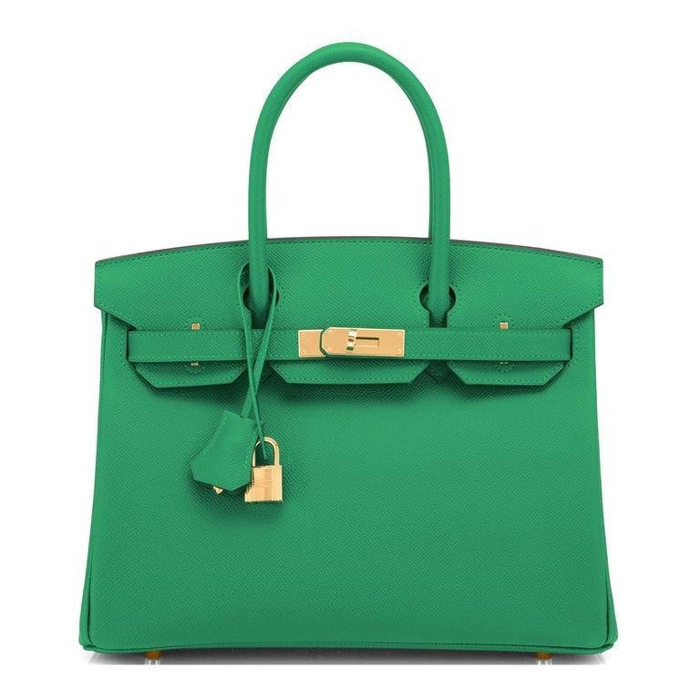 Blue Hermes Birkin 30 Cactus Emerald Green Epsom Gold Bag Y Stamp, 2020 For Sale
