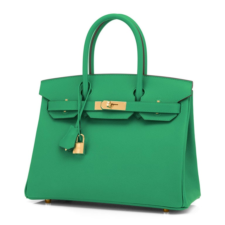 Hermes Birkin 30 Cactus Emerald Green Epsom Gold Bag Y Stamp, 2020 In New Condition For Sale In New York, NY