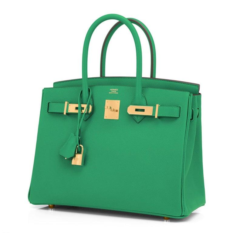 Hermes Birkin 30 Cactus Emerald Green Epsom Gold Bag Y Stamp, 2020 For Sale 2