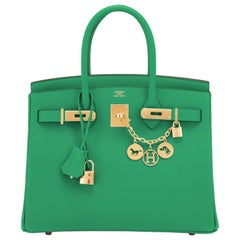 Hermes Birkin 30 Cactus Emerald Green Epsom Gold Bag Y Stamp, 2020