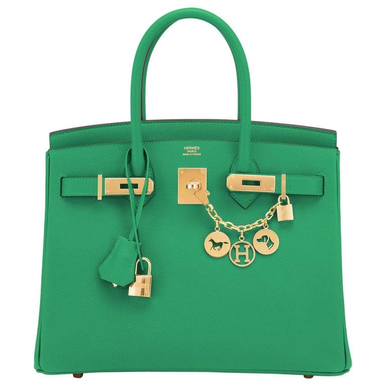Hermes Birkin 30 Cactus Emerald Green Epsom Gold Bag Y Stamp, 2020 For Sale