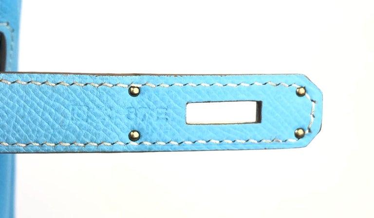 Hermes Birkin 30 Candy Collection Blue Celeste Mykonos Epsom Palladium Hardware  For Sale 6