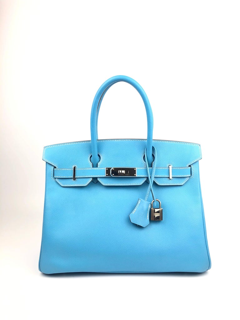 Hermes Birkin 30 Blue Celeste Mykonos Candy Collection Palladium Hardware. Excellent Condition, light hairlines on hardware, perfect corners and structure.  Shop with Confidence from Lux Addicts. Authenticity Guaranteed!