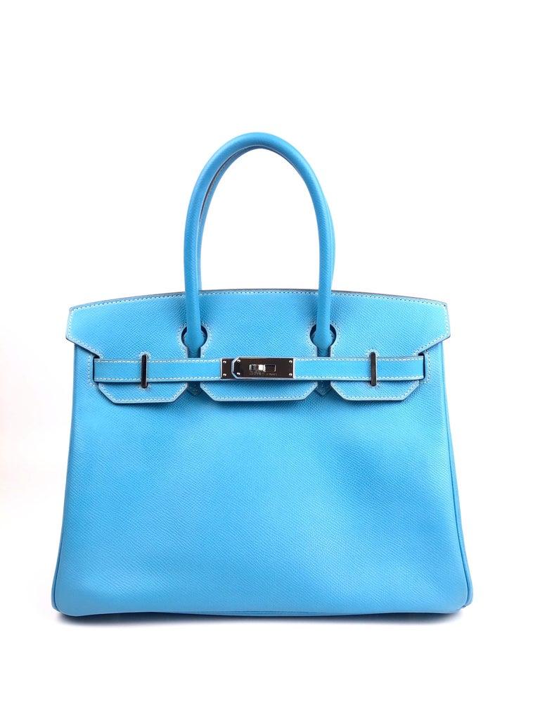 Hermes Birkin 30 Candy Collection Blue Celeste Mykonos Epsom Palladium Hardware  In Excellent Condition For Sale In Miami, FL