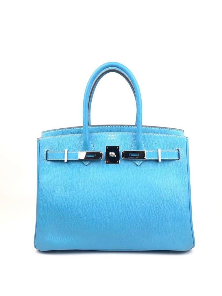 Women's or Men's Hermes Birkin 30 Candy Collection Blue Celeste Mykonos Epsom Palladium Hardware  For Sale