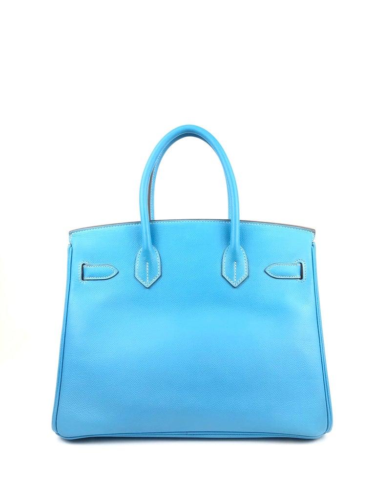 Hermes Birkin 30 Candy Collection Blue Celeste Mykonos Epsom Palladium Hardware  For Sale 1
