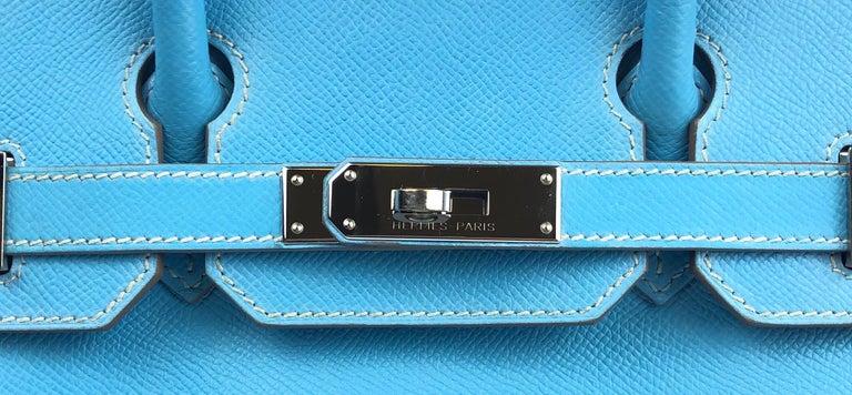 Hermes Birkin 30 Candy Collection Blue Celeste Mykonos Epsom Palladium Hardware  For Sale 3