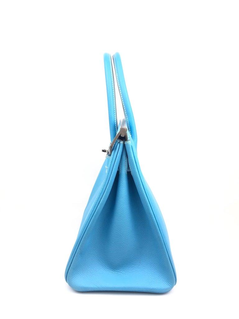 Hermes Birkin 30 Candy Collection Blue Celeste Mykonos Epsom Palladium Hardware  For Sale 4