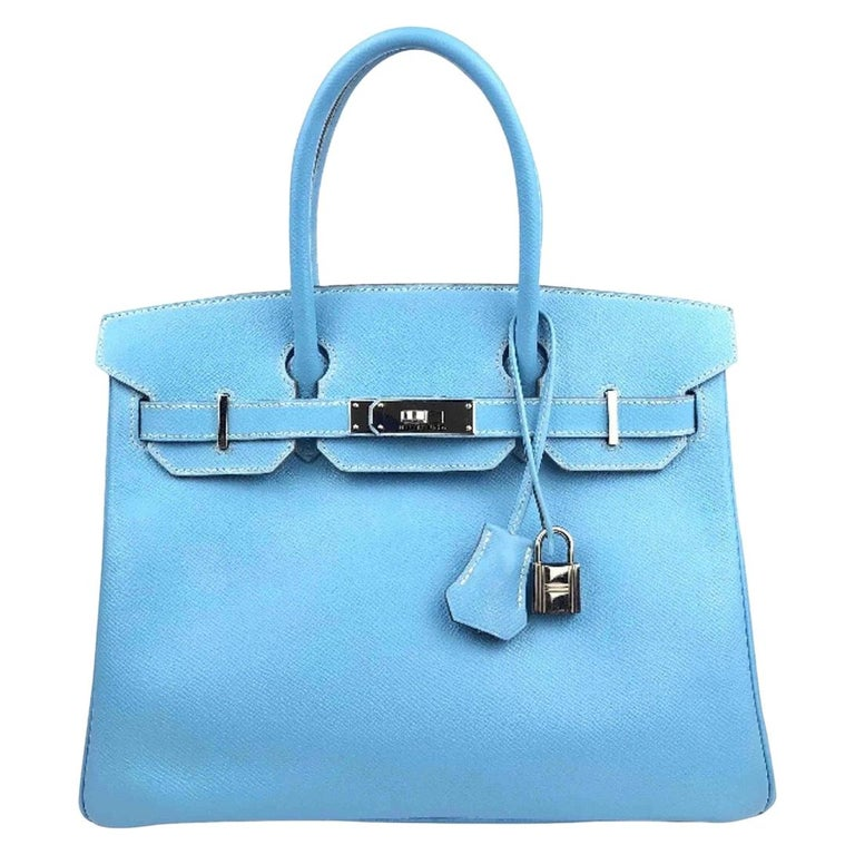 Hermes Birkin 30 Candy Collection Blue Celeste Mykonos Epsom Palladium Hardware  For Sale