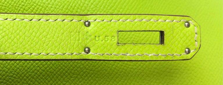 Hermes Birkin 30 Candy Collection Kiwi Lime Linchen Green Palladium Hardware  For Sale 6