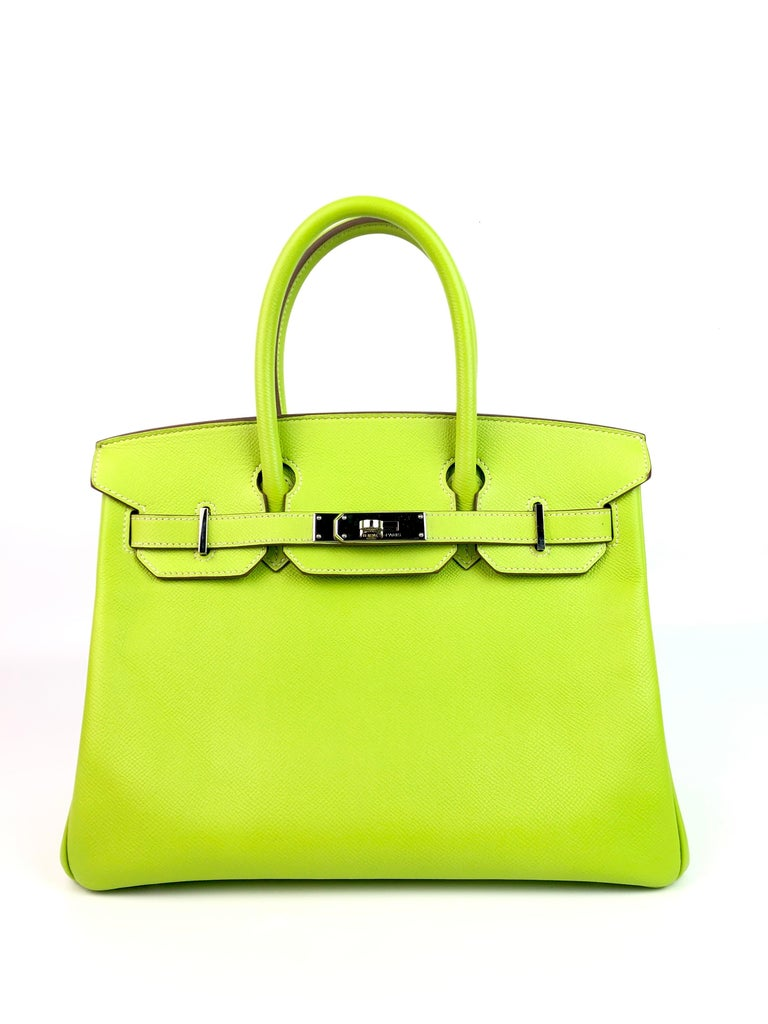 Hermes Birkin 30 Kiwi Linchen Green Candy Collection Palladium Hardware. Excellent Condition, light hairlines on Hardware, Excellent corners and structure.   Shop with Confidence from Lux Addicts. Authenticity Guaranteed!