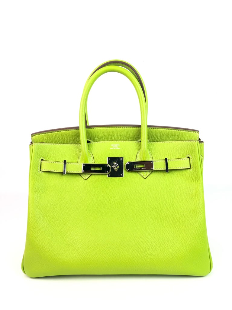 Hermes Birkin 30 Candy Collection Kiwi Lime Linchen Green Palladium Hardware  In Excellent Condition For Sale In Miami, FL