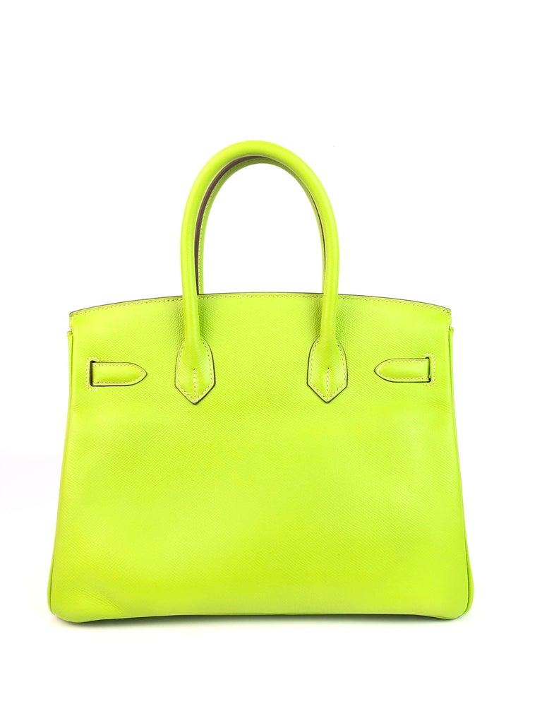 Women's or Men's Hermes Birkin 30 Candy Collection Kiwi Lime Linchen Green Palladium Hardware  For Sale