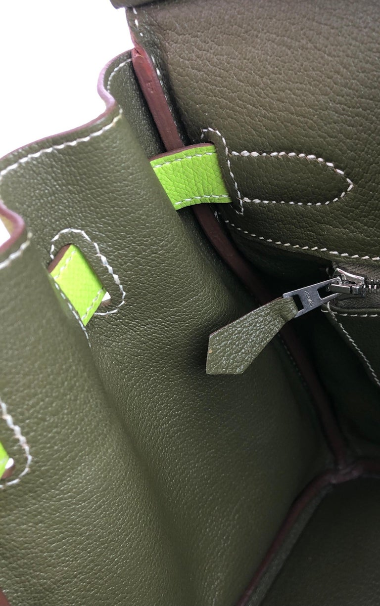 Hermes Birkin 30 Candy Collection Kiwi Lime Linchen Green Palladium Hardware  For Sale 1